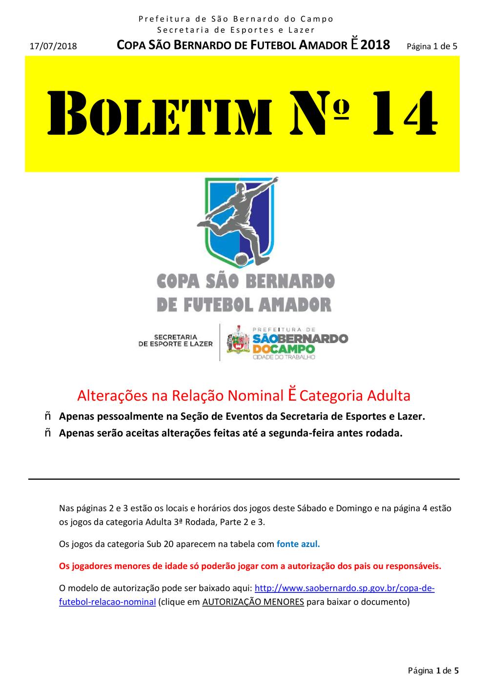Boletim FUTEBOL Nº 14 - Início - São Bernardo d9d03508c8a31